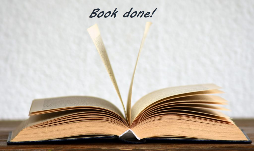 "Image of a book with the text ""Book done!"""